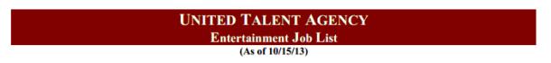 UTA Job List
