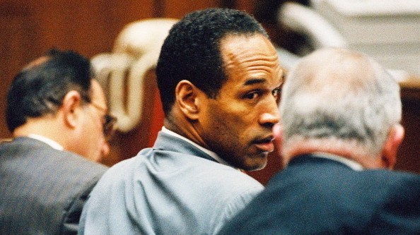 O.J. Simpson confers with his lawyers during a pre-trial hearing Jan. 12, 1995.
